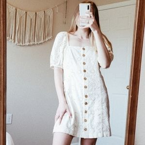 FREE PEOPLE Cream Crochet Button Down Mini Dress 8